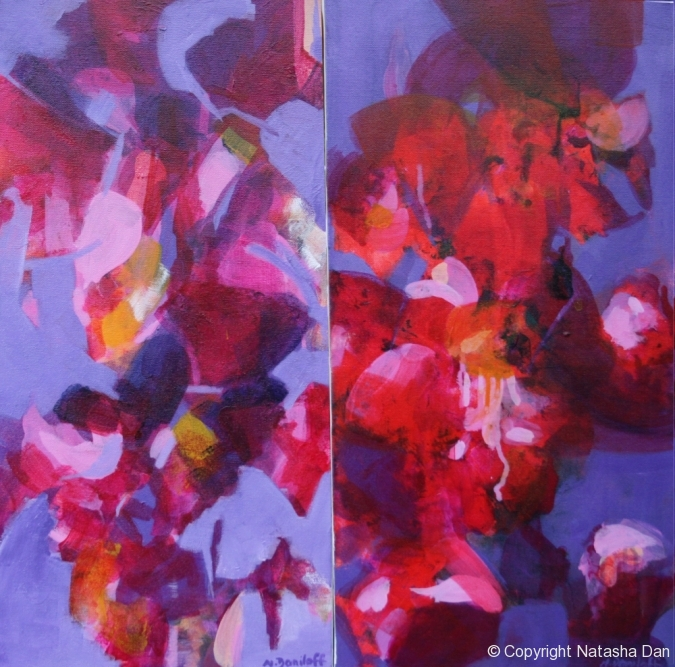 Swimming-with-Tibuchina-acrylic-2-panels-60x60-cm-